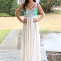 One Summer Maxi - Ivory and Jade