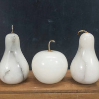 Decorative Stone Fruit Alabaster White Polished Marble Apple Pears Vintage Modern Kitchen Dining Room Table Centerpiece Decor