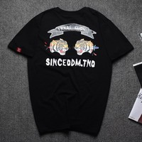 Print Short Sleeve Plus Size Strong Character T-shirts [10630014147]