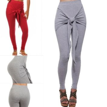 High Waist Front Tied Leggings Heather Grey or Burgundy All Sizes Made in USA