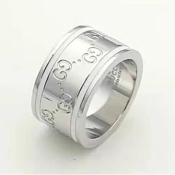 GUCCI New fashion more letter couple ring Silver