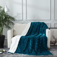 DaDa Bedding Mermaid Scales Blue Teal Faux Fur w/ Sherpa Backside Fleece Throw Blanket (BL-171805)