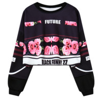 """Fashion """"FUTURE""""letters rose print crop top long sleeve sweater for women top black"""