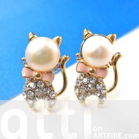 Small Kitty Cat Bow Animal Stud Earrings with Rhinestones and Pearls
