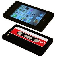 Cbus Wireless brand Black/Red Silicone Cassette Tape Case / Skin / Cover for Apple iPod Touch 4 / 4G / 4th Gen