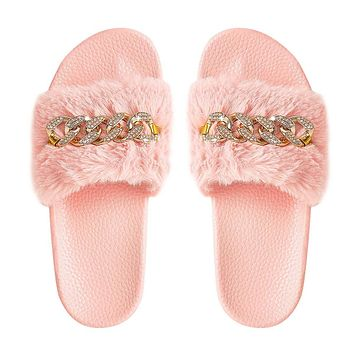 MissHeel Fluffy Slippers Pink Open Toe Slides Fuzzy House Shoes for Women Bedroom Slippers Shoes Size 7