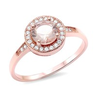 Sterling Silver Rose Gold Plated 6mm Round Simulated Morganite Halo Ring