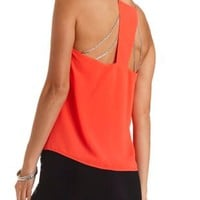 Chain-Embellished Swing Halter Top by Charlotte Russe