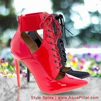 Spinx Lace Up Corset Ankle Bootie Pump w Zipper Pointed Toe & High Heel