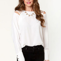 Strappy Gilmore Cutout Ivory Top