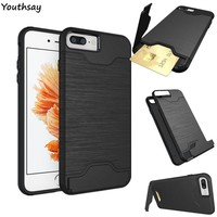 Youthsay For Phone Cover iphone 8 Plus Case Silicone Armor Card Solt Case For iphone 7 Plus Case For iphone 8 Plus Cover Fundas