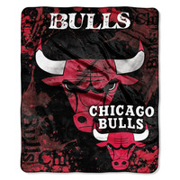 Chicago Bulls NBA Royal Plush Raschel Blanket (Drop Down Series) (50x60)