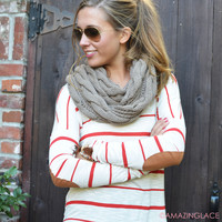 High Standards Red Striped Elbow Patch Top