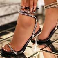 Glitter Rhinestone Pumps Sandals Women Shoes Peep Toe Perspex Heel Stilettos High Heels Sandals Party Shoes