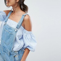 Bershka Embroidered Denim Overall at asos.com