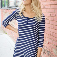 Young Love Navy & White Striped Henley Tunic Dress
