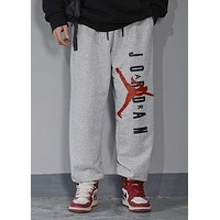 AIR JORDAN Tide brand printing letter big logo wild casual sweatpants grey