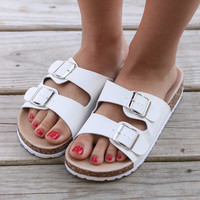 Buckle Up White Faux Cork Sandals