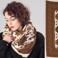 80s Ethnic Print Scarf / Large Oversize Brown & White Handckerchief / Geometric Animal Fringed Scarf