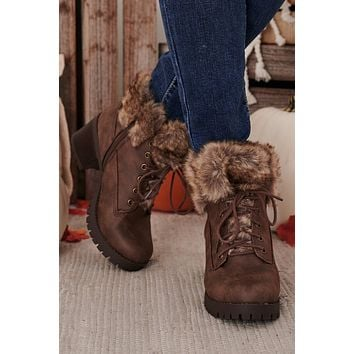 Nothing Left To Give Faux Fur Trimmed Booties (Brown)