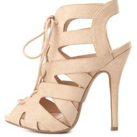 Peep Toe Cut-Out Lace-Up Heels by Charlotte Russe - Natural