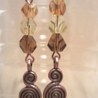 Shimmering Fall Colors & Copper Double Spiral Dangle Earrings, Handmade, Celtic Inspired, Simple Elegance, Classic Style, Fashion Jewelry