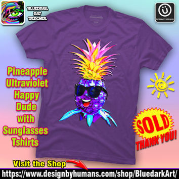 SOLD! Pineapple Ultraviolet Happy Dude with Sunglasses Tshirts