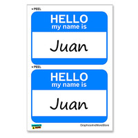 Juan Hello My Name Is - Sheet of 2 Stickers