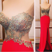 Strapless Prom Dresses,Red Prom Dresses, Long Evening Dress