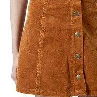 Topshop Button Front Corduroy A-Line Skirt (Petite) | Nordstrom