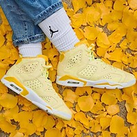 Bunchsun Air Jordan 6 Fashionable Women Sport Basketball Shoes Sneakers Yellow
