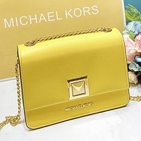 MK New fashion leather chain solid color shoulder bag crossbody bag Yellow