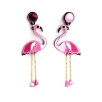 ONETOW New fashion acrylic crystal rose red flamingo earrings long paragraph personality female