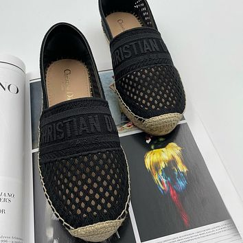 Christian Dior new products hollow embroidery letters ladies lazy shoes casual shoes
