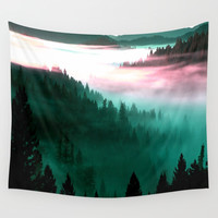 Misty Mountains Morning : Magenta Mauve Teal Wall Tapestry by 2sweet4words Designs