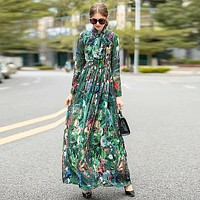 Forest Green Boho Vintage Elegant Chic Print Dress