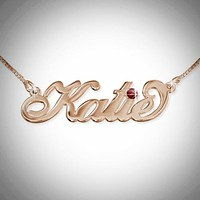 Name Necklace with Swarovski Crystal - Script Font - 0-7 Characters