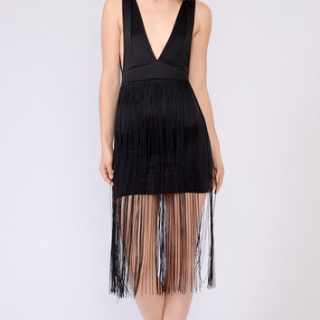 V Neck Fringe Accent Dress