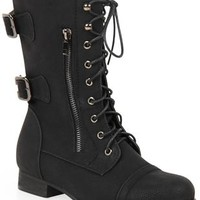 Wide Width Combat Boot with Faux Side Zipper