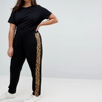 ASOS CURVE Easy Peg Pants with Animal Side Stripe at asos.com