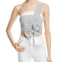 KENDALL and KYLIEOne Shoulder Wrap Crop Top