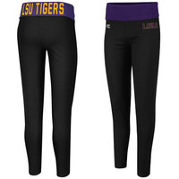 LSU Tigers Ladies Pivot II Yoga Leggings - Black/Purple