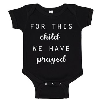 Ink Trendz® For This Child We Have Prayed Pregnancy Reveal Announcement Baby Romper Bodysuit