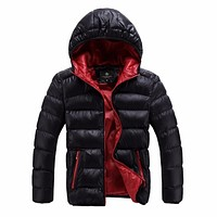 Contrast Color Winter Jackets Mens Coat Plus Size Hooded Windproof Warm Fashion Lining Padded Down Jacket Casacos Masculino