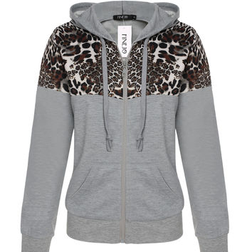 Leopard Print Hoodie Zippered Sweater