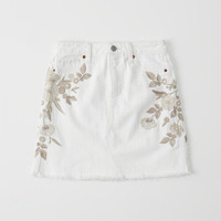 Womens Embroidered Denim Mini Skirt | Womens Bottoms | Abercrombie.com