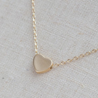 Tiny Matte Gold Heart Necklace on Luulla