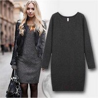 Long Sleeve And Soft Nap Casual Dress