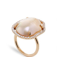 MO Exclusive: One of a Kind 18K Rose Gold Diamond and Pearl Slice Ring