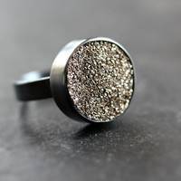 Gold Druzy Ring - Oxidized Sterling Silver